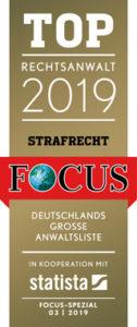 Focus Siegel 2019 - Top Rechtsanwalt Strafrecht
