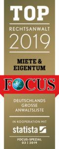 Focus Top Rechtsanwalt 2019 Mietrecht